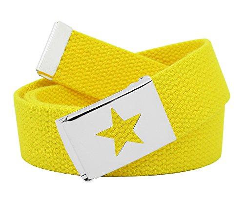 Women's Silver Flip Top Star Belt Buckle with Canvas Web Belt Small Yellow