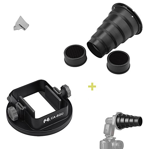 Fomito Flash Snoot & Universal Adapter Mount for Canon Nikon Yongnuo Metz Neewer Godox ()