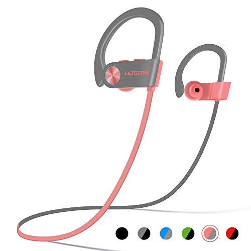 (LETSCOM Bluetooth Headphones IPX7 Waterproof, Wireless Sport Earphones Bluetooth 4.1, HiFi Bass Stereo Sweatproof Earbuds w/Mic, Noise Cancelling Headset Workout, Running, Gym, 8 Hours Play Time)