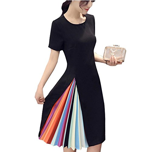 Ashir Aley Women's Rainbow Colorful Block Pleated A Line Little Dress(M,Black)