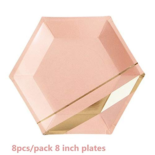 daisy3010 Balloons Happy Birthday - Rose Gold Paper Plates Cups Straws Napkin for Wedding Happy Birthday Decoration Disposable Tableware Supplies - 8