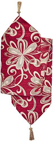 Violet Linen Chenille Chateau Vintage Floral Design Table Runner, 13