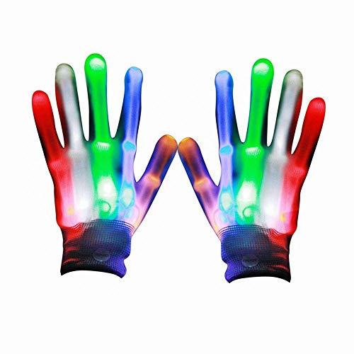 Dubstep Halloween Costumes (Eshall LED Colorful Flashing Lighting Gloves LED Finger Light Gloves for Halloween Costume Christmas Dance Dubstep Party)