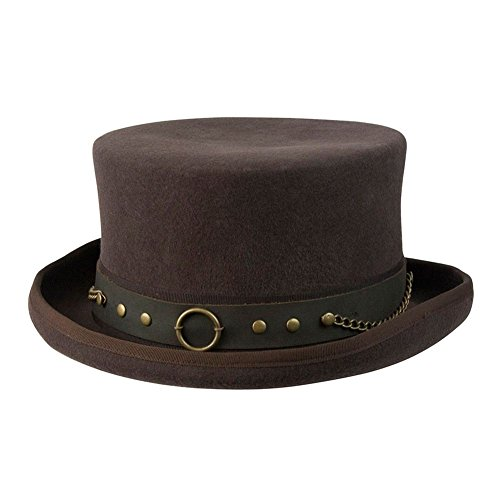 Cov-ver Hats, Australian Wool Steampunk Top Hat With Brass Rings,Medium,Brown from Cov-ver Hats