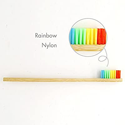 Genkent Natural Bamboo Toothbrush Made with Rainbow Nylon Infused Bristles