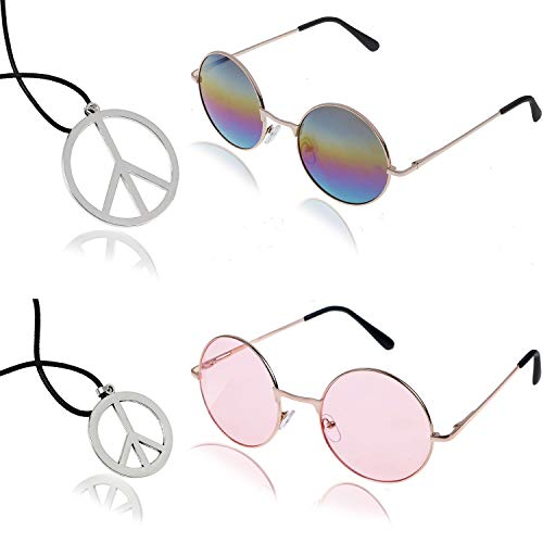 AOPOO Hippie Accessory Party Set- Hippie Sunglasses and Peace Sign Necklace for 60's or 70's Themed Party