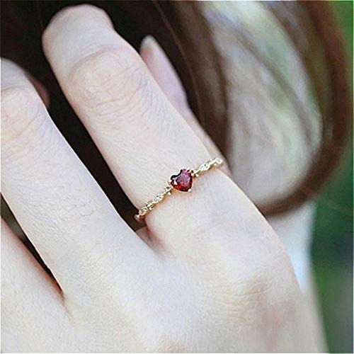 Naomi Cute Dainty Women's 14K Gold PlatedHeart-Shaped Ruby Drill Rings Delicate Rings Gemstone Rings Wedding Jewelry CS Multi-Color 6 ()