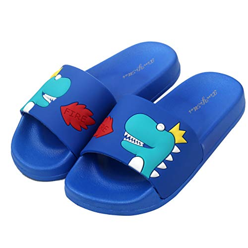 Price comparison product image Anddyam Kids Family Household Sandals Anti-Slip Indoor Outdoor Home Slippers for Girls and Boys (US Little Kid (6-7 Years), Blue dinosa)