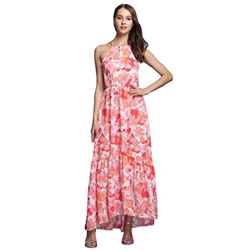 Ouneed® Femme Mode Maxi Robe de Plage sans manches Irreguilierre Motifs