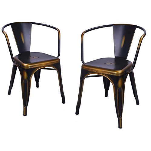Antique Arm Chairs (Asensefurniture Inc Asense 31 Inch Height Stackable Standard Armrest Chairs, For cafe, Pub, Bistro, Outdoor Indoor, Antique Copper Metal Chair (Set of Two))
