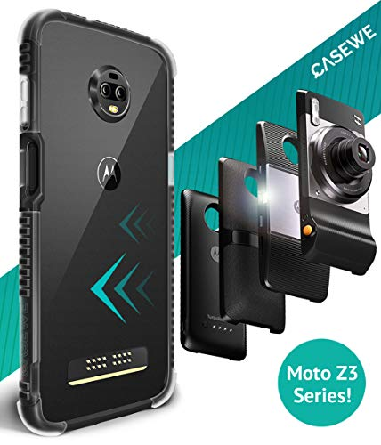 CaseWe - Motorola Moto Z3 / Z3 Play Protective Flexible Bumper Case Cover/Compatible with Moto Mods - Matte Black & Clear