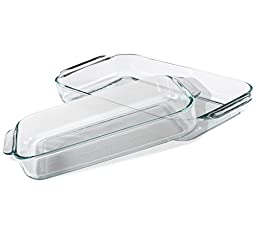 Pyrex Basics Clear Oblong Glass Baking Dishes, 4 Piece Value Plus Pack Set,