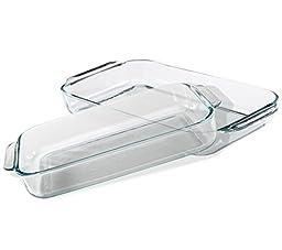 Pyrex Basics Clear Oblong Glass Baking Dishes, 4 Piece Value Plus Pack Set,