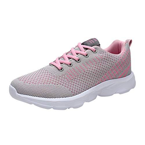 Deloito Damen Bequem Sneaker Mesh Atmungsaktive Turnschuhe Schnür Freizeit Reise Sport Schuhe Schülerin Flache rutschfeste Laufschuhe