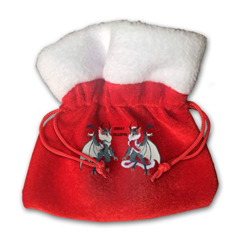 Merry Krampus Christmas Costume Merry Christmas Xmas Gift Candy Bags Jewelry Toys Treat Small Tiny Little 6 Inch Miniature Drawstring Reusable Bundle Reusable -