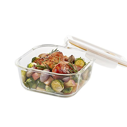 LOCK & LOCK GLASS, 5.9 Cup, Borosilicate Glass, Oven Safe, BPA Free, 100% Airtight, Glass Square Food Storage Container with Steam Vent Lid