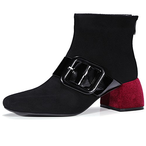 Nine Seven Suede Leather Women's Square Toe Buckle Chunky Heel Back Zip Handmade Buckle Toe Two Tone Ankle Boots B0751DSS67 Parent 7ec55e