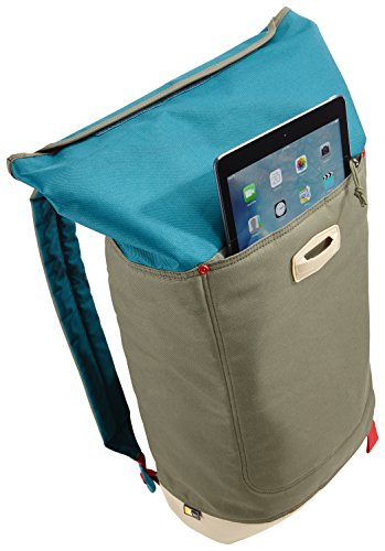 Case Logic LARI114HDN Larimer Rolltop Notebook Rucksack 35,6 cm (14 Zoll) mit Tablet-Fach Hudson Petrol Green