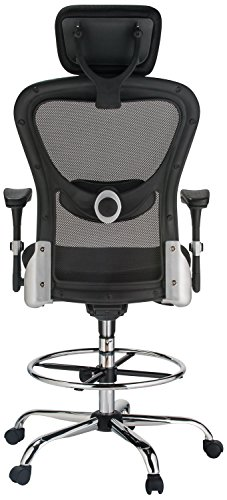 Harwick Deluxe Mesh Drafting Stool With Arms Black General