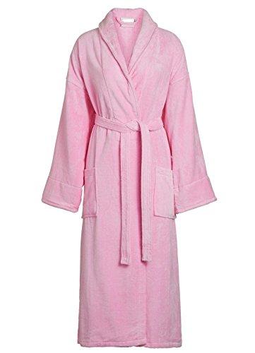 Goza Towels Unisex Shawl Bathrobe Cotton Terry Velour Cloth Robe (One Size, Pink)