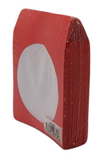 BestDuplicator - CDSLV-100-RD Premium Thick Red Paper CD/DVD Sleeves Envelope with Window Cut Out and Flap ()