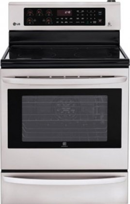 LG LRE3027ST 6.3 cu. ft. Capacity Electric Single Oven Range With Infrared Grill, Smart ThinQ in Stainless - Self Cleaning Stainless Steel Grill