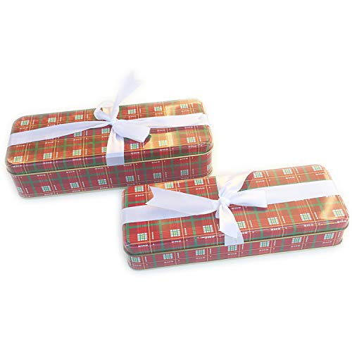 Christmas Cookie Tins With Lids For Gift Giving Empty Candy Treats Ginger Snaps Swap Containers Snack Exchange Boxes Cerebrate a Holiday Goodie Party Favors Set of 2 Red Rectangular Box White Ribbon