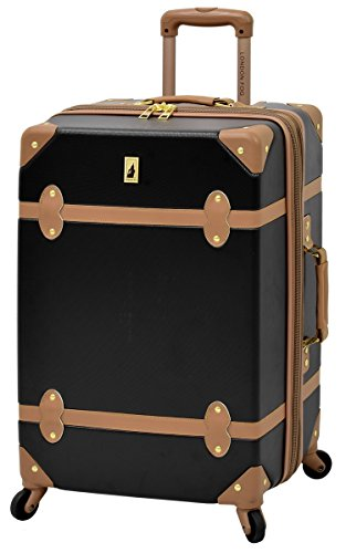 london-fog-retro-24-expandable-hardside-spinner-black-caramel