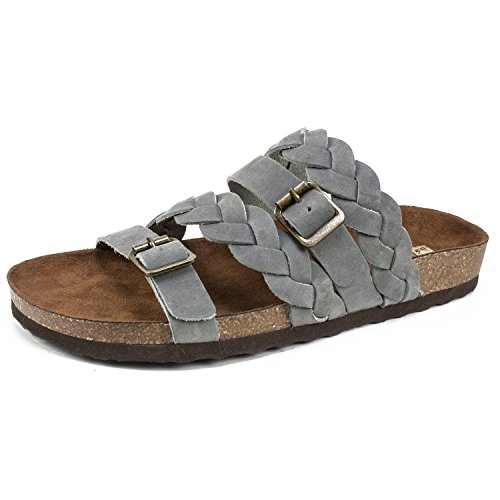 (WHITE MOUNTAIN Shoes Holland Women's Sandal, LtBlue/Leather, 9 M)