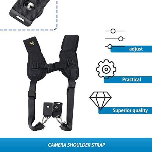 Quick Rapid Carry Comfortable Neck Strap Sling Double Dual Shoulder Belt for Digital SLR DSLR Camera Black