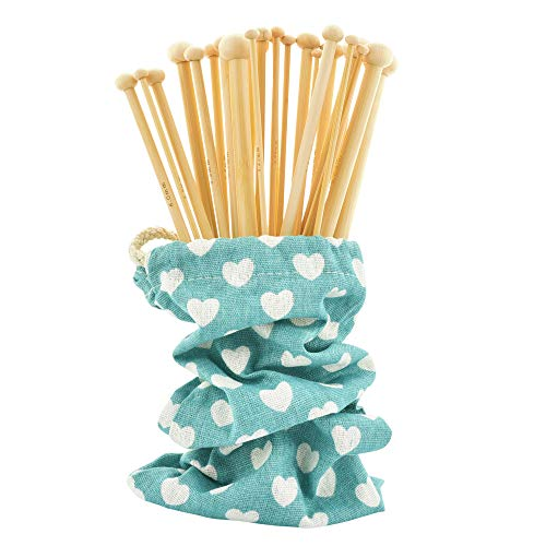 Celley 18 Pairs Smooth Bamboo Knitting Needles with Pouch (9 3/4 Inches Length, Sizes US 0 to US 15)
