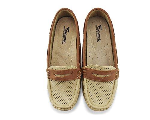 Jabasic Lady Comfort Slip-on Loafers Hollow Driving Flat Shoes(7.5,Beige) by Jabasic (Image #7)