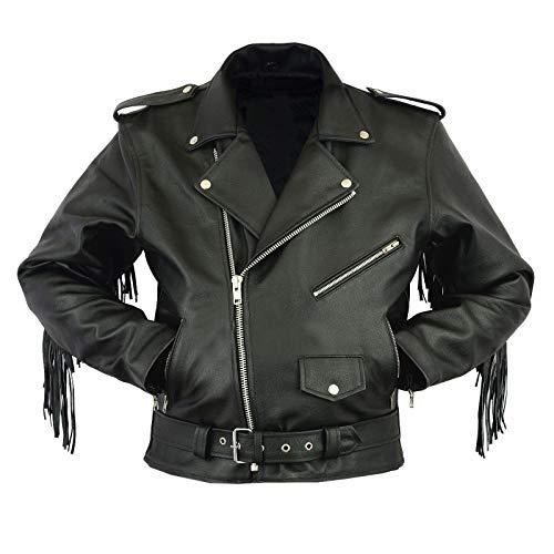 III-Fashions Mens Classic Brando Cafe Racer Vintage Perfecto Fringes Style Black Rider Motorcycle Biker Leather Jacket - Fringe Motorcycle Jacket