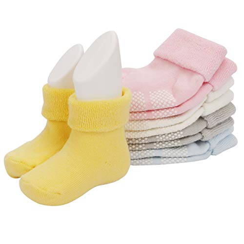 Baby Boys Girls Socks Best Infant and Toddler Gift, Anti Slip Kids Socks Ankle Toddler Non skid Soft Cotton Assorted Boys Girls Grip Walkers -