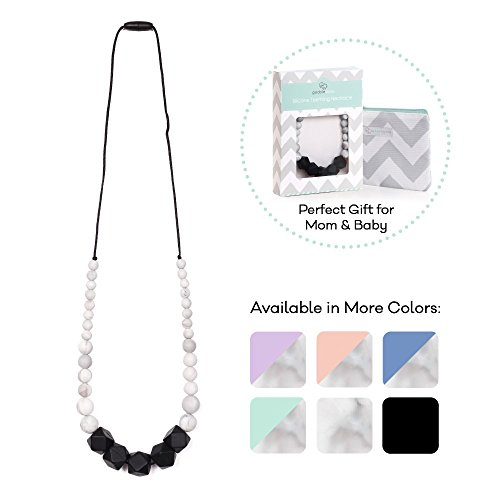 Goobie Baby Madison Silicone Teething Necklace for Mom to Wear, Safe BPA Free Beads to Chew - Black/Marble