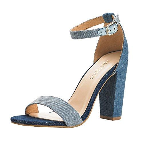 JENN ARDOR Women's Jean High Chunky Heel Open Toe Single Band Evening Dress Party Sandals With Ankle Strap US - Trendy U 4 Frames