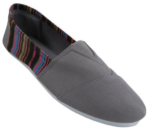 Free Womens Canvas Slip on Shoes Flats 2 Tone 7 Colors