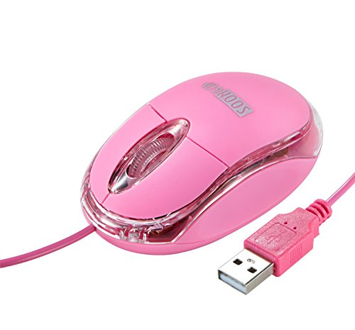 Mini Optical Wired Ergonomic Mouse LED Light Pink Computer Notebook Laptop Mice for Children and Lady by SOONGO