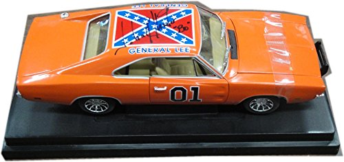 John Schneider Dukes of Hazzard Cast signed Chrome General Lee 1:18 Scale
