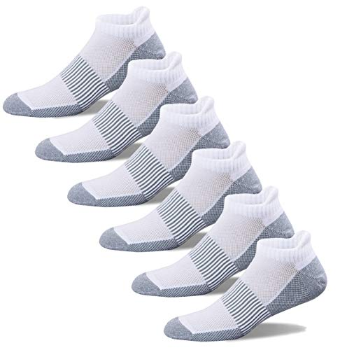 WELL KNITTING Copper Infused Antibacterial Athletic Low Cut Socks for Mens and Womens - Moisture Wicking Ankle No Show Socks with Tab 6 Pairs
