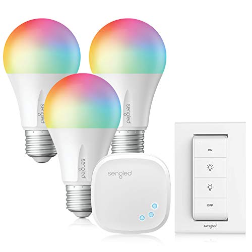 Sengled Smart Light Bulbs, Alexa Light Bulbs RGB Color Changing, Smart Bulb That Compatible with Alexa, Google Home, 3 Pack Starter Kit with Smart Switch, A19 E26 Dimmable LED 60W Equivalent, 800LM