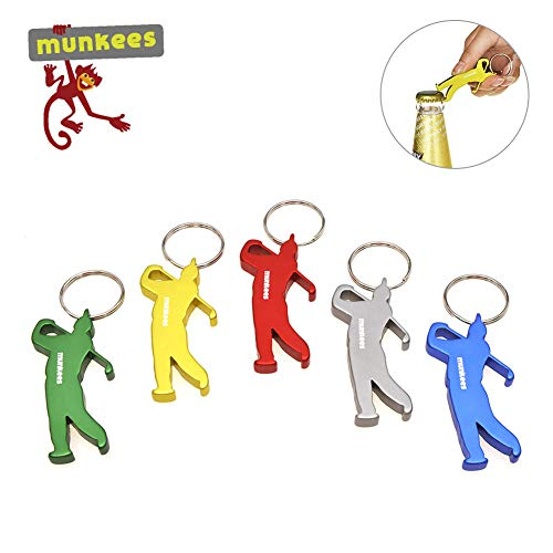 - AceCamp Munkees 5pcs Keychain Beer Bottle Openers Can Openers Pocket Colorful Sports Bottle Openers Keychain Ring
