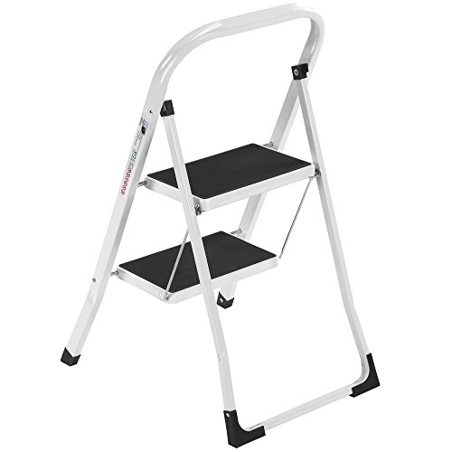 VonHaus Steel 2 Step Ladder Folding Portable Stool with 330lbs Capacity - Lightweight and Sturdy, White, 2 Step by VonHaus (Image #3)