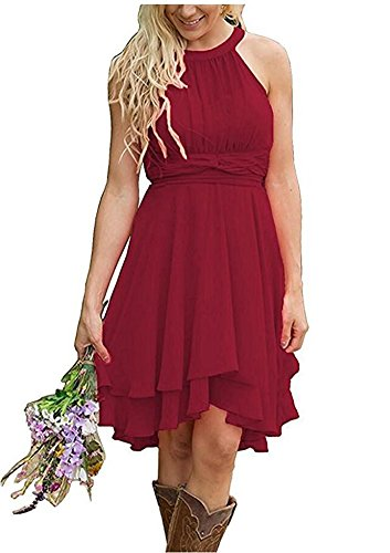 Size Aokaixin Deep Short Wedding Red Western Country Guest Dresses Plus Wears Bridesmaid O55qpr