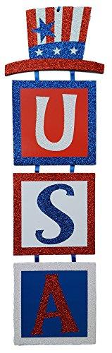 Patriotic USA Sparkle Glitter Tiered Door Hanger Sign USA