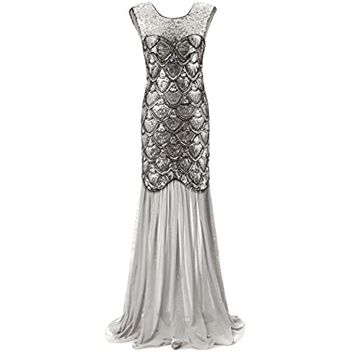 Bbonlinedress 1920s Long Sequins Gatsby Mermaid V-Back Vintage Prom Dresses Evening Party Gown Silver L