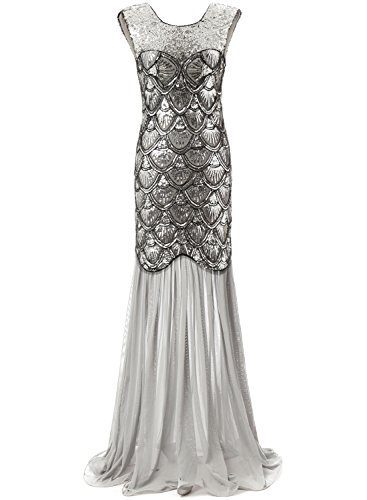 [Bbonlinedress 1920s Long Sequins Gatsby Mermaid V-Back Vintage Prom Dresses Evening Party Gown Silver] (Gatsby Dress Cheap)