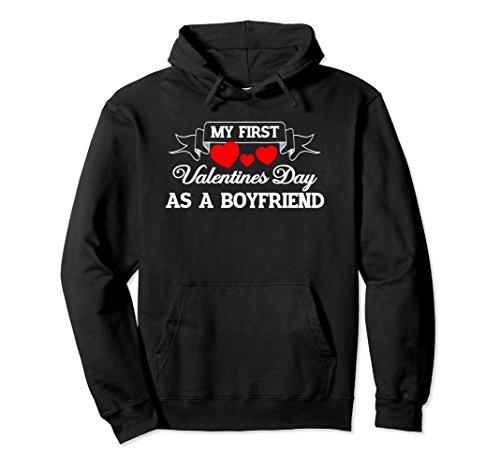 Unisex My First Valentines Day As A Boyfriend - Sweetheart Hoodie Medium Black