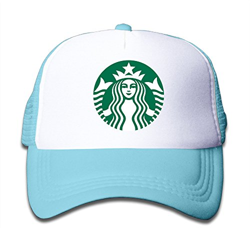 JSWALA Starbucks Logo Mesh Caps Snapback Hats For Kids Child SkyBlue