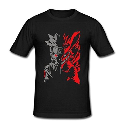 HJGBEDS Japan Anime Hokage Ninjia Naruto Classic T-shirt Large Black (Cheap Naruto Shirts)